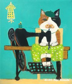 """""""Calico Cat Sewing machine"""" 「三毛猫の足踏みミシン」 on canvas. Shark S, Norwegian Forest Cat, White Kittens, Ragdoll Kittens, Funny Kittens, Bengal Cats, Adorable Kittens, Kitty Cats, Sleepy Cat"""