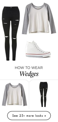 """Untitled #252"" by ninastan on Polyvore featuring moda, RVCA, Converse y Topshop"
