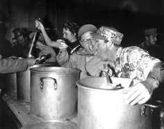 USO Troupe - Mickey Rooney amd members of his show feed troops chow; right to left are : Dick Winslow, Mickey Rooney, Deenah Prince, Alice Tyrrell, and Red Barry. Bob Hope, Historical Images, Korean War, North Korea, Vietnam War, World War Ii, Troops, American History, Wwii