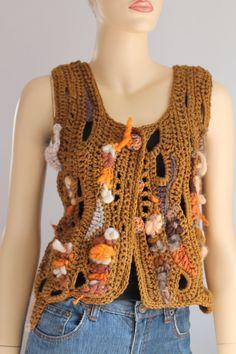 VENTA 40% de descuento Freeform Crochet chaleco  por levintovich