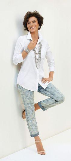 Love the crisp white shirt with jeans. I don't like short jeans! https://www.stitchfix.com/referral/4454176?sod=w&som=c
