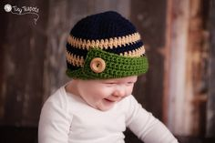 Boys Hat, Button Tab Beanie, Crochet Hat, Baby, Toddler, Navy Blue $28