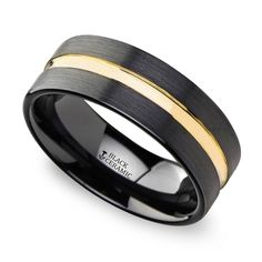 This brushed black ceramic wedding band features a high polished yellow gold groove for contrast. Tungsten Mens Rings, Tungsten Wedding Bands, Wedding Men, Wedding Rings, Dream Wedding, Wedding Ideas, Ring Size Guide, Rings For Men, Yellow