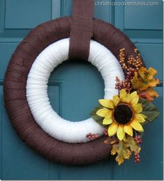 Double Wreath!  Love the look of the yarn wreath AND burlap wreath together.