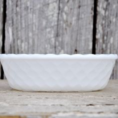 Vintage EO Brody White Milk Glass Basket Weave Honeycomb Bowl Planter with Scalloped Edge. $15.00, via Etsy.