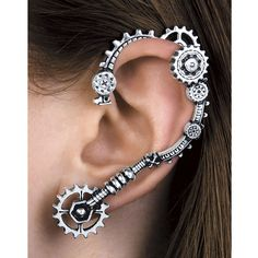 Steampunk Gear Ear Wrap ($100) ❤ liked on Polyvore featuring jewelry, earrings, fancy jewellery, steam punk earrings, fancy earrings, gothic pendants and pendant jewelry