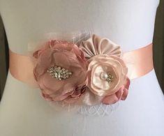 Wedding Sash, Bridal Sash, Wedding Flowers, Fabric Flowers, Pink Flowers, Baby Shower Sash, Maternity Sash, Dusty Rose, Blush