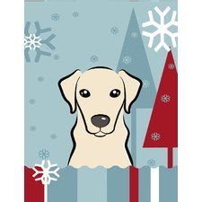Winter Holiday Yellow Labrador Vertical Flag