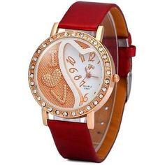 DFa 6541 Female Quartz Watch Diamond Round Dial Leather Watchband - Watchesfixx