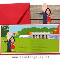#uitnodigingen #trouwkaarten #robijnen #huwelijk #landgoed #groot #warnsborn #herfst #cartoon 40 jaar getrouwd #trouwen