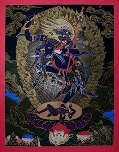 Thangka Simhavaktra Dakini . Thangka of / von Simhavaktra (Simhamukha) Dakini (Senge Dongchen-ma). Buddhistische Thangkas, Statuen und Mandalas. Marvelous buddhist Statues, Mandala and Thangka from Snow Lion