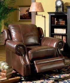 Recliner Sofa Chair Nail Head Trim Burgundy Tri-Tone Leather - http://www.furniturendecor.com/recliner-sofa-chair-nail-head-trim-burgundy-tri-tone/