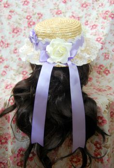 Classic, Country, Sweet Lolita Floral Hat in Lavander