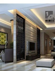 the best room divider ideas and partition wall designs for modern home interior designs Tv Wall Design, Ceiling Design, House Design, Exterior Wall Design, Home Interior Design, Interior Decorating, Lobby Interior, Decorating Ideas, Decor Ideas