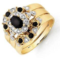 Three Ring set with Sapphire & Diamonds in Yellow Gold Sapphire Diamond, Diamond Rings, Diamond Cuts, Gold Rings, Diamond Settings, Rings Online, Colored Diamonds, Jewelry Design, Gemstones