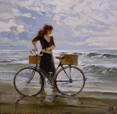 Por amor al arte: Alexey Tchernigin Australian Painters, Romantic Paintings, Romantic Woman, Spanish Painters, Black And White Drawing, Cycling Art, Bike Art, Art For Art Sake, Chor