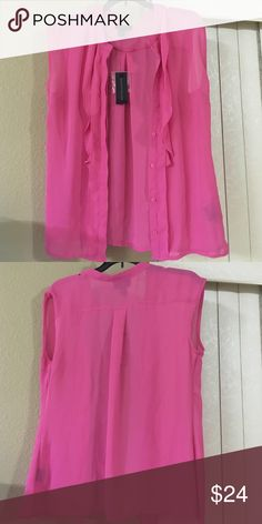 New with tags top Pink sheer button down top Tops Blouses