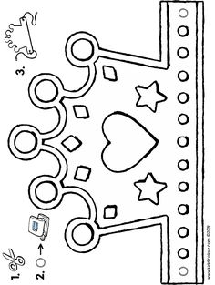 Animal Crafts For Kids, Diy For Kids, Valentines Art For Kids, Castle Crafts, Birthday Coloring Pages, Crown Template, Puppet Crafts, Paper Crowns, Barbie Birthday