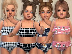 -Sulani swimsuits for toddler girls with 5 designs. Found in TSR Category Sims 4 Toddler Female - Swimsuits - Ideas of Swimsuits Toddler Cc Sims 4, Sims 4 Toddler Clothes, Sims 4 Cc Kids Clothing, Sims 4 Mods Clothes, Toddler Girls, Sims 4 Cas, Sims Cc, Mods Sims, The Sims 4 Bebes