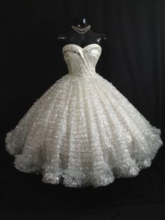 Vintage 1950's 50s STRAPLESS Bombshell White Silver Metallic Tulle Taffeta Lace Party Prom WEDDING Dress Gown. $699.99, via Etsy.