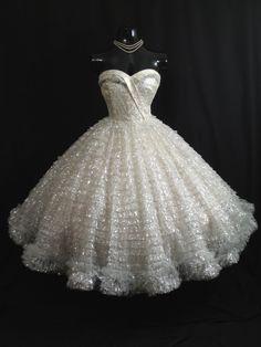 Vintage 1950's 50s STRAPLESS Bombshell White Silver Metallic Tulle Taffeta Lace Party Prom WEDDING Dress Gown. $699.99, via Etsy.