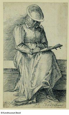 Hans Heinrich Wägmann Zürich 1557–1626/28 vermutlich Luzern Lesende Frau, auf einer Bank sitzend, 1595    Woman Seated on a Bench Reading