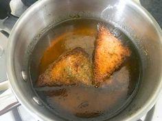 Fried bread slices dipped in sugar syrup for Hyderabadi Shahi Tukra Recipe Shahi Tukda Recipe, Recipes Using Condensed Milk, Crisp Bread, Full Fat Milk, Food Lab, Indian Desserts, Recipe Steps, Iftar, Recipe Using