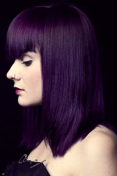 Woman with Purple Dye and Bangs