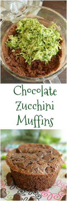 Chocolate Zucchini Muffins are perfect for those mornings you know you are going to need chocolate, for after school snacks, or for dessert by Ella Claire.