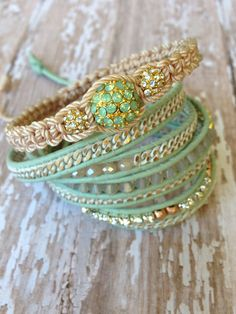 Mint Chromo Gold Leather Wrap and Shambala Set on Etsy, $110.00. Seller is great and jewelry is beautiful!