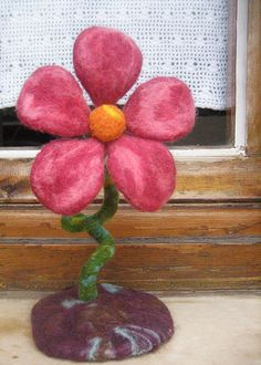 OOAK Needle felted large springtime flower by GreenDotCreationsGr