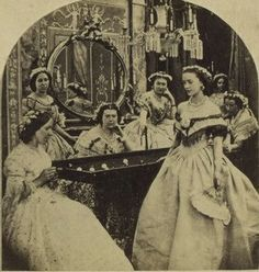 """""""Untitled, interior scene with women in evening dress. Stereoscope card, detail ca. Victorian Photography, Old Photography, Old Pictures, Old Photos, Time Pictures, Family Pictures, Vintage Photographs, Vintage Photos, Antique Photos"""
