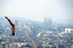 92 Olympics...  The diving offered spectacular views of the Barcelona skyline