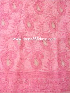 Buy Light Pink Unstitched Kurta with Chikankari, Applique and Heavy Jaali Work on Sleeves(One Piece)