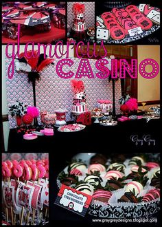 Fabulous Features by Anders Ruff Custom Designs: {Featured Clients} A Hot Pink Glamorous Casino Birthday Party Casino Night Food, Casino Party Foods, Casino Theme Parties, Party Themes, Party Ideas, Party Desserts, Fun Ideas, Ideas Para, Gourmet