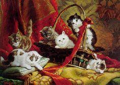 """Kittens"" -- by Cornelis Raaphorst (Dutch, 1875–1954)"