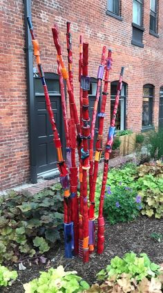 Russ Vogt, 9 Pole Red Reed, ceramic, outdoor sculpture, statue, midcentury, Sherrie Gallerie