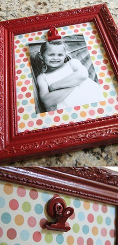 This is such a creative idea! Put cardstock or wrapping paper on a piece of cardboard and frame it, then attach a clip to the paper so you can change out the photo. So SO cute!