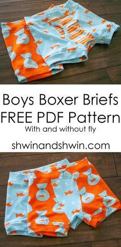 Chicos calzoncillo retro || PDF gratuito Patrón || Shwin y Shwin