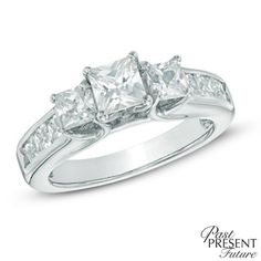 Zales: 2 CT. T.W. Princess-Cut Diamond Past Present Future® Engagement Ring in 14K White Gold