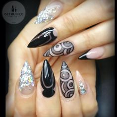 Black and Silver Glitter Negative Space Stiletto Nails With Rhinestones