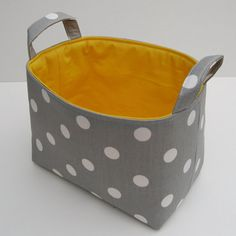 Fabric Organizer Storage Container Basket Bin - Gray with White Polka Dots