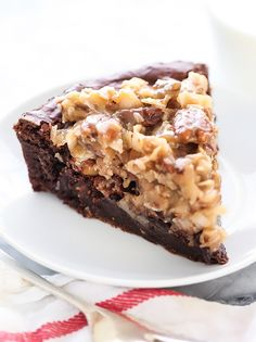 German Chocolate Brownie Pie combines my two favorite desserts in one, the frosting is crazy good!