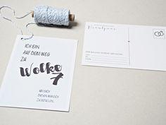 Hochzeitsdeko - 20X Luftpost...Ballonflugkarte WOLKE 7 - ein Designerstück von gluecksschauer bei DaWanda