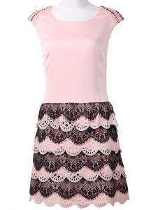 Pink Sleeveless Bead Shoulder Lace Silk Dress