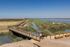 The 15-hectare Tagus Linear Park was designed by Topiaris Landscape Architecture for the riverside city of Póvoa de Santa Iria, off the south-west coast of Portugal, and offers outdoor activities including fishing and wildlife watching.