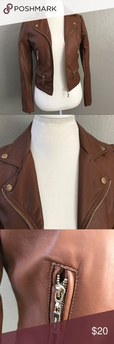 Brown Faux Leather Jacket Bomber Moto Cute details adorn this jacket. Two small dots as shown where leather is defected. Rose Golding zipper accents. Ask me questions! Jou Jou Jackets & Coats