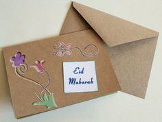 Eid Mubarak stamped Flowers card Eid card for Eid by NoahScraps, $3.00