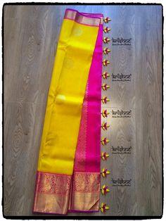 Kuchu Saree Tassels Designs, Saree Kuchu Designs, Wedding Saree Blouse Designs, Pattu Saree Blouse Designs, Fancy Blouse Designs, Saree Wedding, Bridal Lehenga, Gold Silk Saree, Silk Saree Kanchipuram