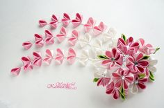 Pink Hand Dyed Cherry Blossom Wedding Kanzashi Fabric Flower Hair Comb Bridal Hair Comb